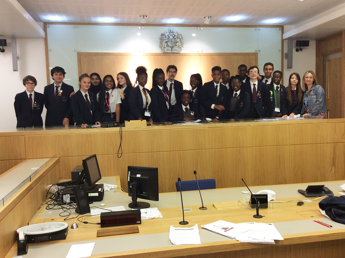 Students and Ms O'Donnell at Manchester Crown Court as part of a trip to enhance career aspirations.