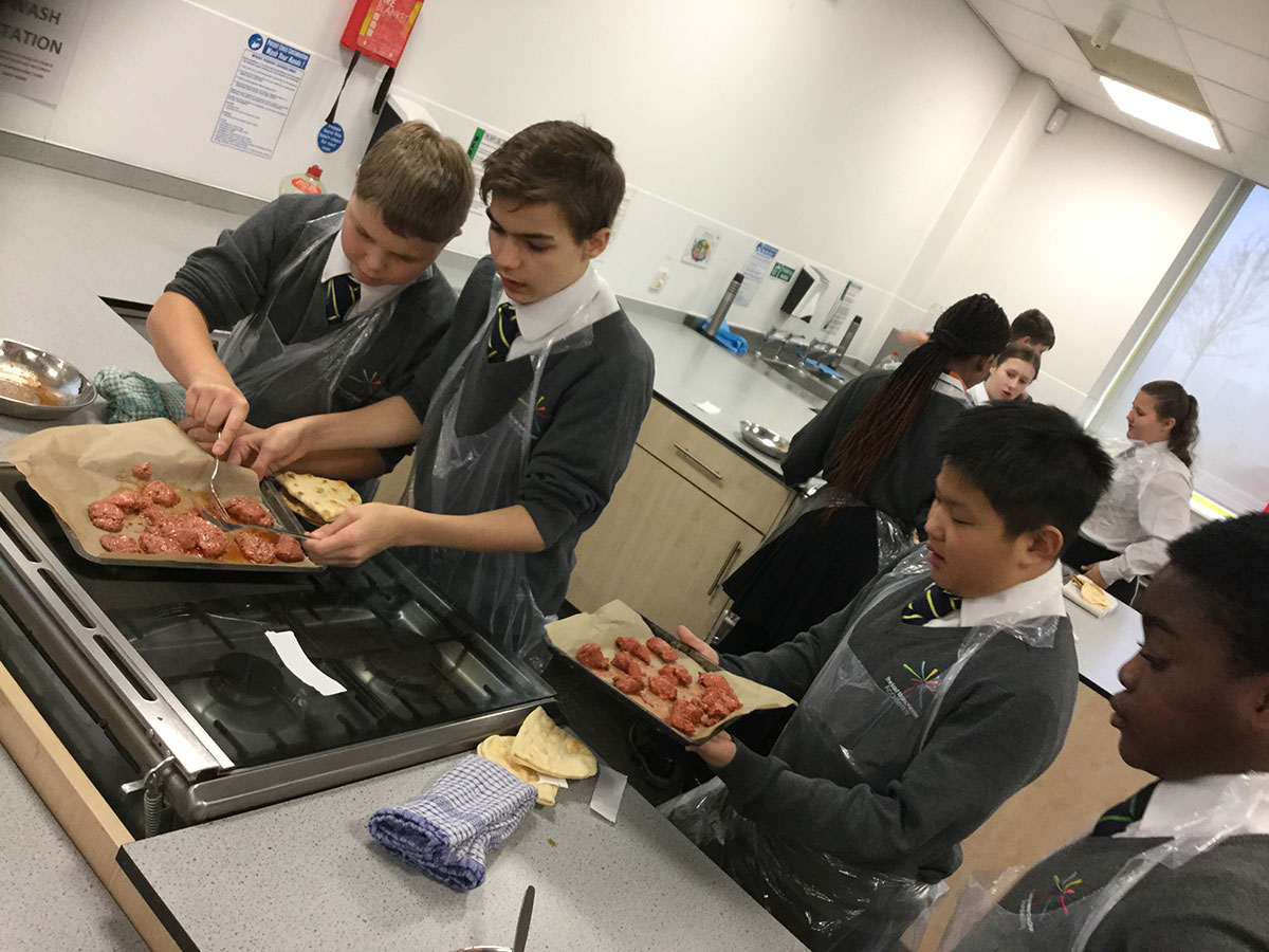 Students developing life skills & making chicken tikka with pita bread during Super Learning Day (December 2018)