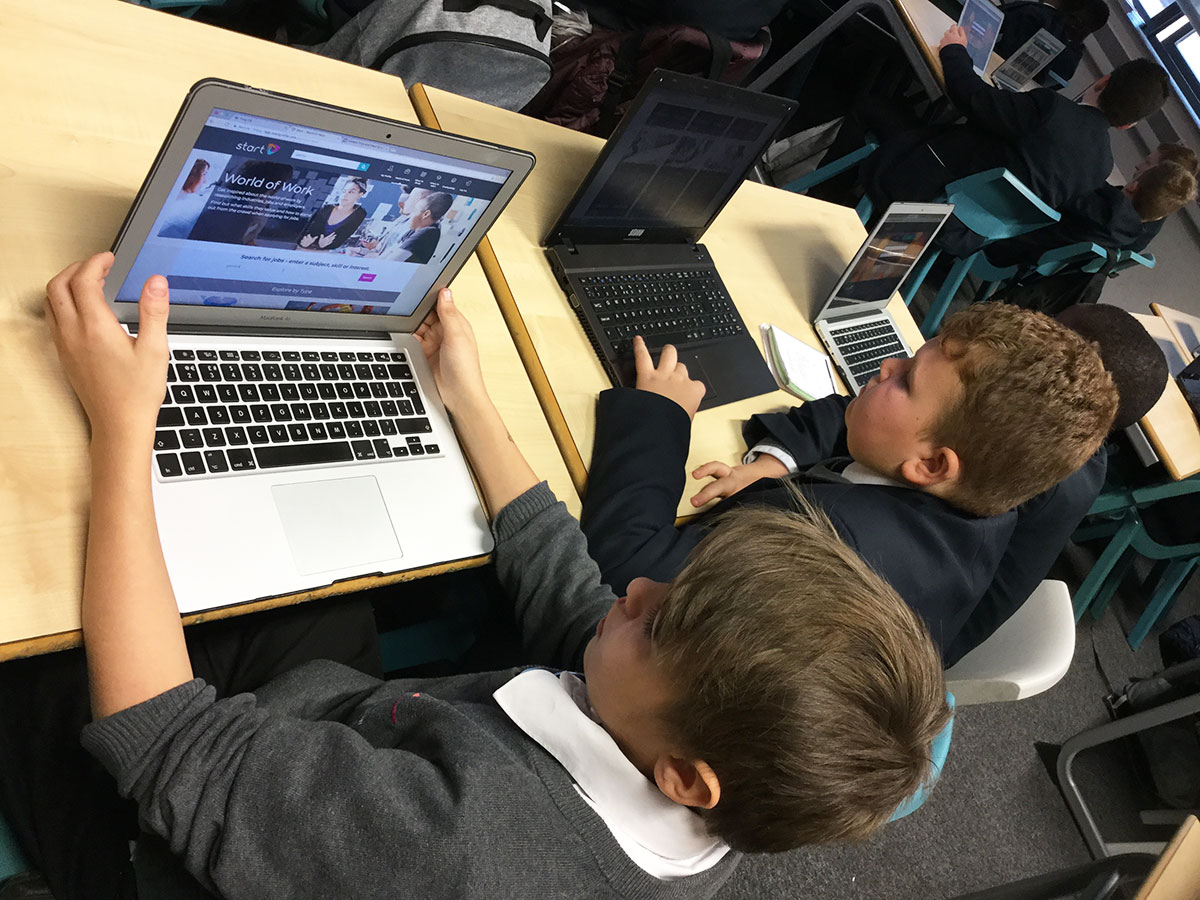 Students using the Start careers platform to consider career pathways as part of Super Learning Day (December 2018)