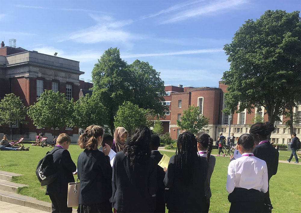 Students from The East Manchester Academy at the University of Manchester in 2019
