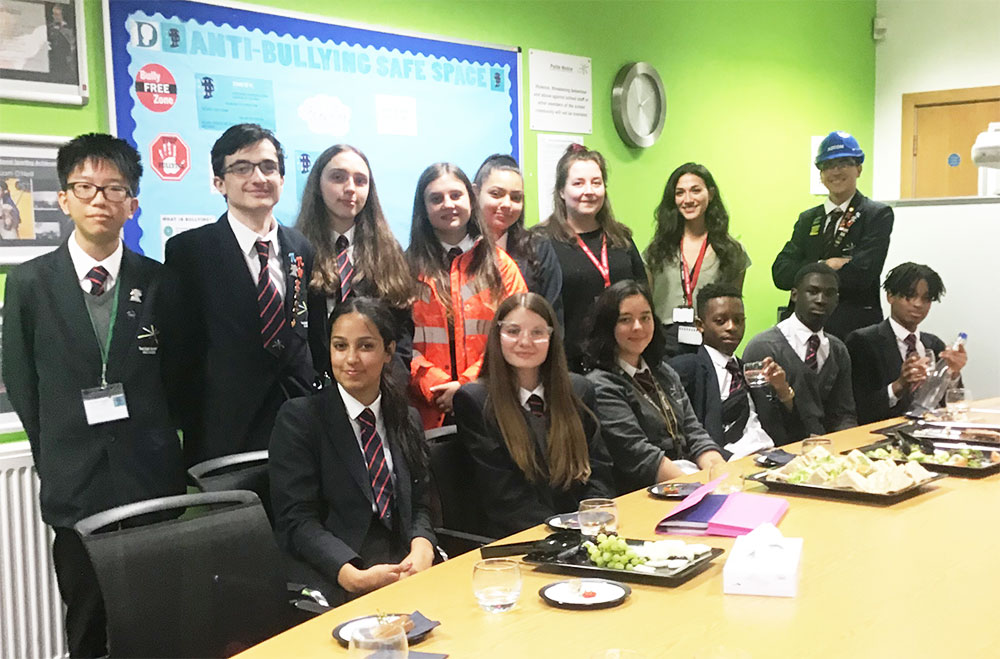 Student ambassadors during a careers business lunch with AECOM in 2019