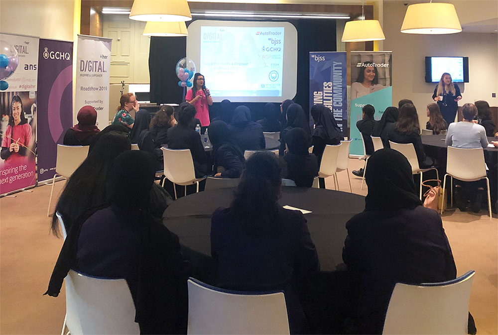 Students during a Digital Her event at the Etihad stadium in 2019
