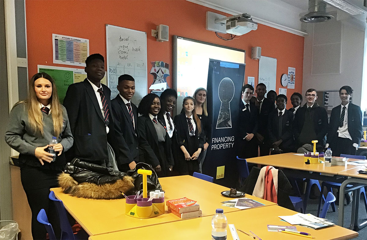 Students during a Careers Business Lunch in 2019, hosted by Savills, a real estate and property management specialist