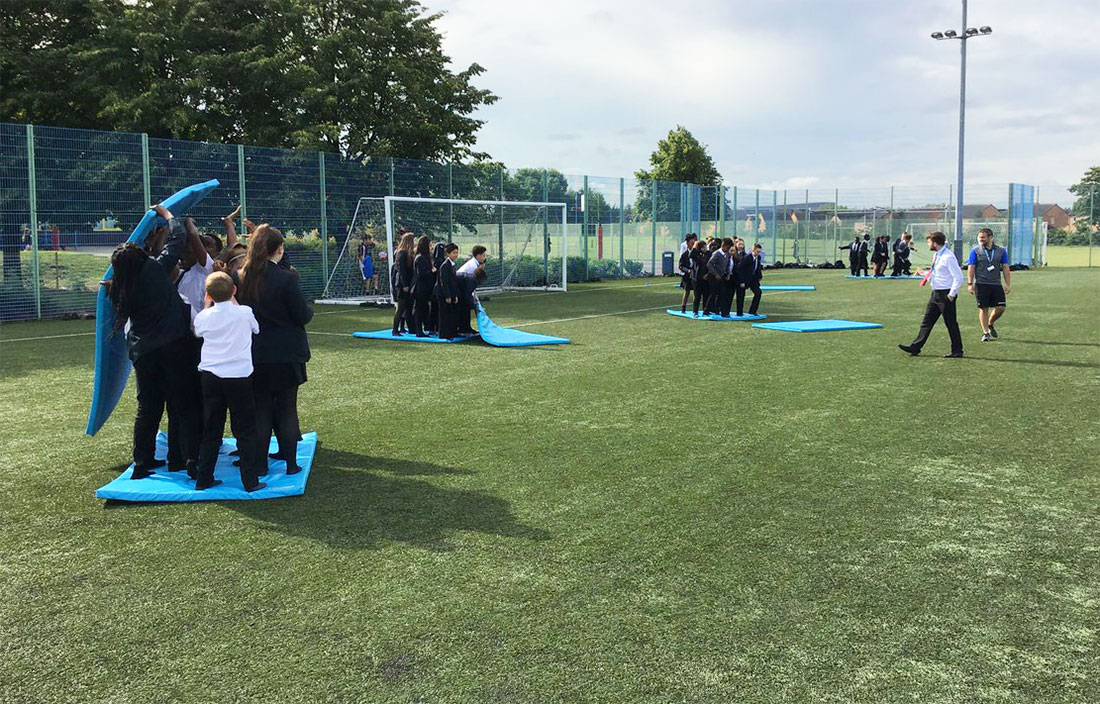 Students taking part in team building exercises during a Super Learning Day in 2019