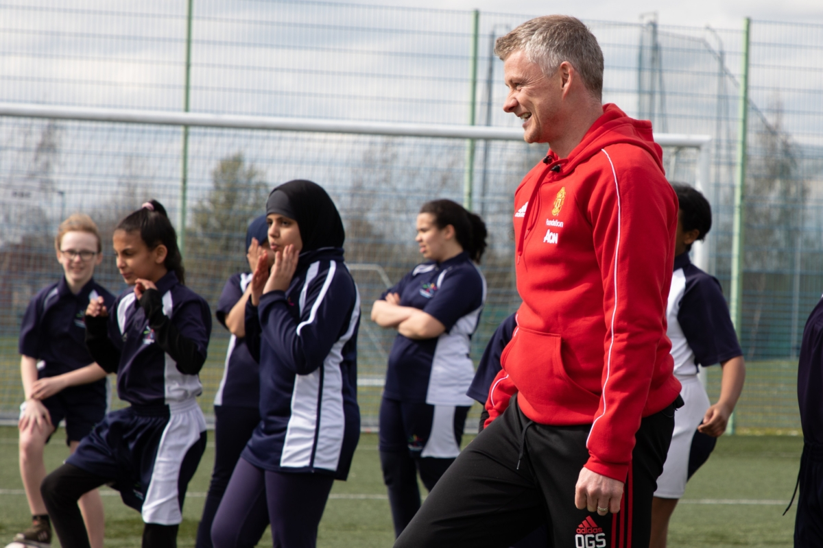 Students meet Ole Gunnar Solskjær during an MUFoundation development programme session. Photo Credit: MUFoundation