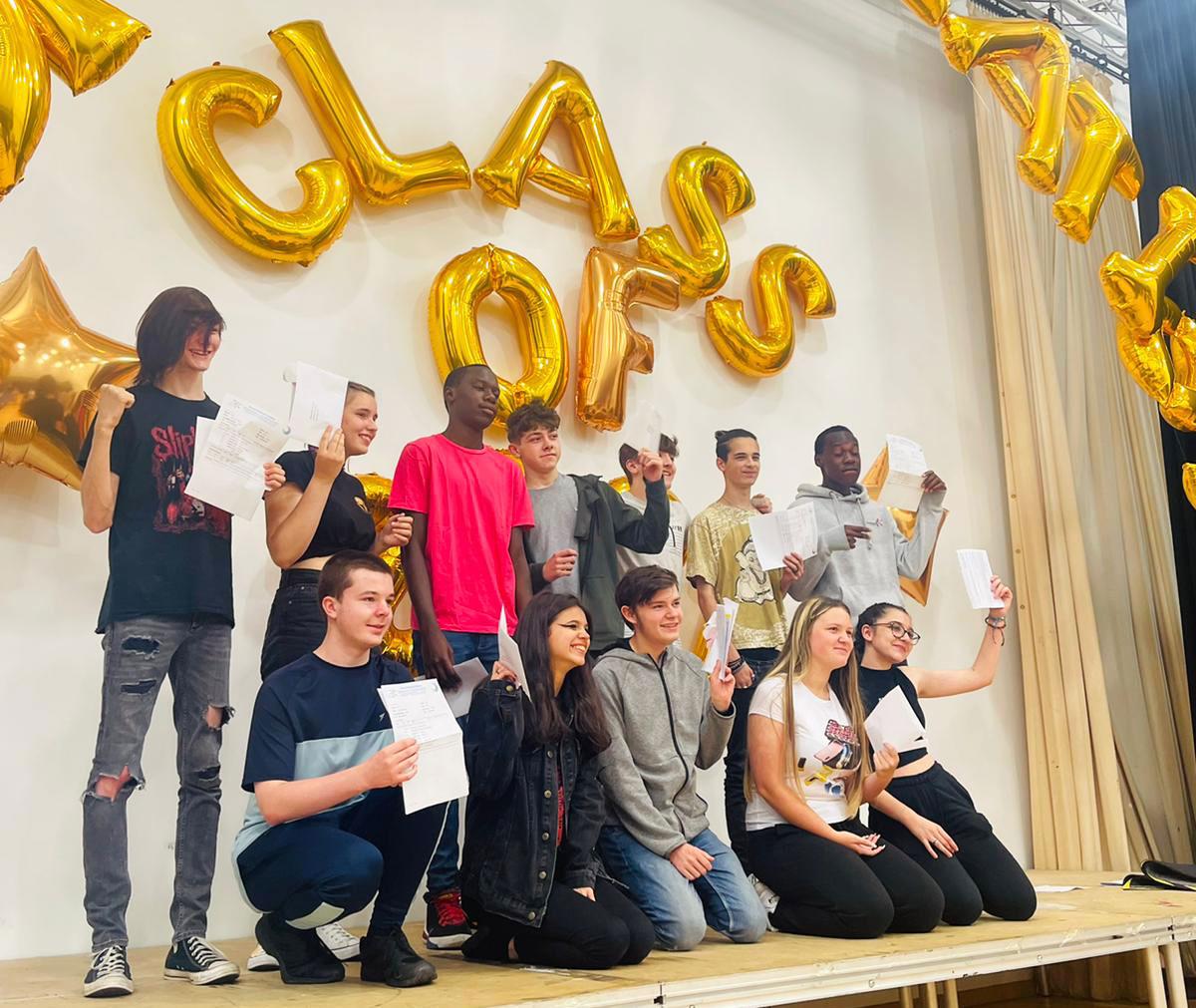 Students celebrating GCSE Results Day 2021 together